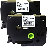 NEOUZA 2PK Compatible For Brother P-Touch Laminated TZe TZ Label Tape 24mm x 8m(1'' x 26.2') (TZe-Fx251 Flexible ID Cable Wire Black on White)