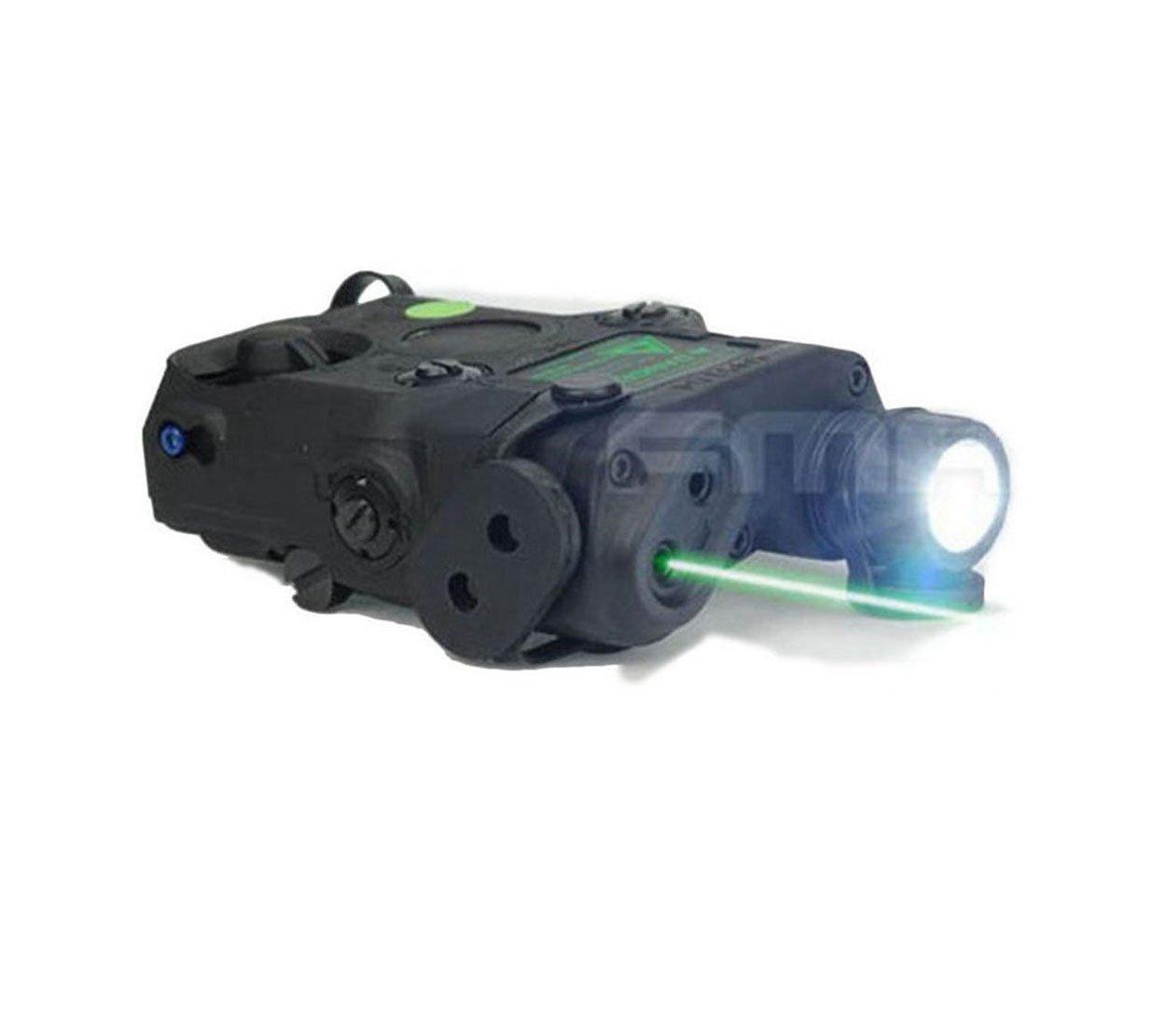 H World Shopping Airsoft PRO-LAS-PEQ-15 LED Flashlight Grn Laser Sight Black AEG GBB CQB