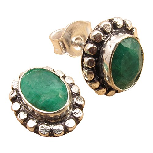 (Authentic EMERALD Stud Earrings, 925 Sterling Silver Plated BIRTHDAY GIFT Jewelry Gemstone Jewelry)