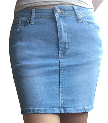 Chouyatou Women's Casual Short Denim Skirt (Medium, Light Blue) (Light Blue Pencil Skirt compare prices)