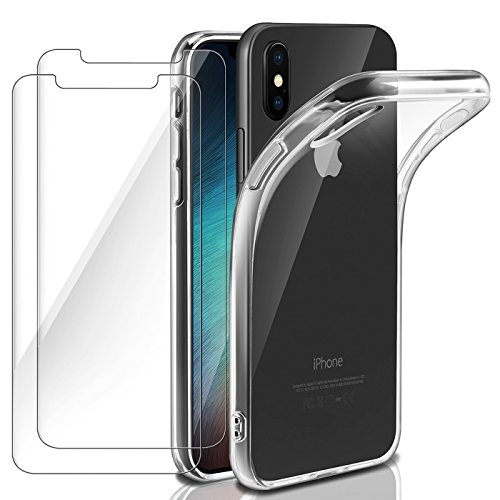ivencase iPhone XS Case Cover + [2 Pack] 9H Hardness HD Tempered Glass Screen Protector for iPhone XS Case Cover, Bumper Soft Crystal Clear Silicone Shockproof TPU Cover Case iPhone XS - 5.8 inch - Silicone Case Screen Protector