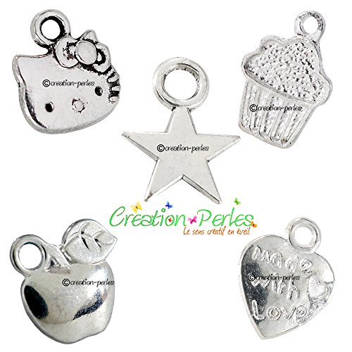 CRÉATION-PERLES MIX 5X10 Breloques Charms Pendentif Coeur Made with Love Chat Gâteaux Muffins Pommes