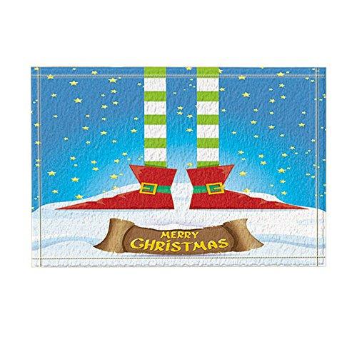 NYMB Winter Festival Decor, Elfs Legs on Snowy North Pole with Christmas Stars Bath Rugs, Non-Slip Doormat Floor Entryways Indoor Front Door Mat, Kids Bath Mat, 15.7x23.6in, Bathroom Accessories ()