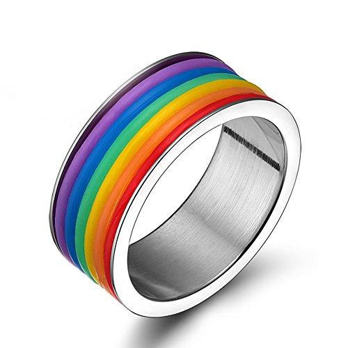 Gay Lesbian Rubber Embedded Rainbow Band Flag LGBT Jewelry Ring - Gay & Lesbian