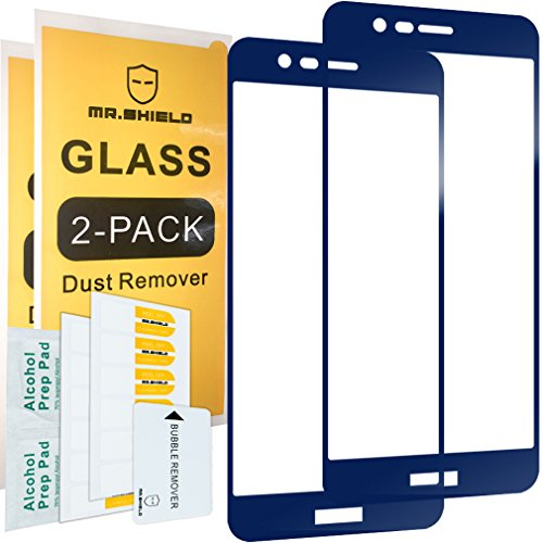 [2-PACK]-Mr Shield For Huawei Honor 8 Pro [FullCover][Blue] [Tempered Glass] Screen Protector with Lifetime Replacement Warranty