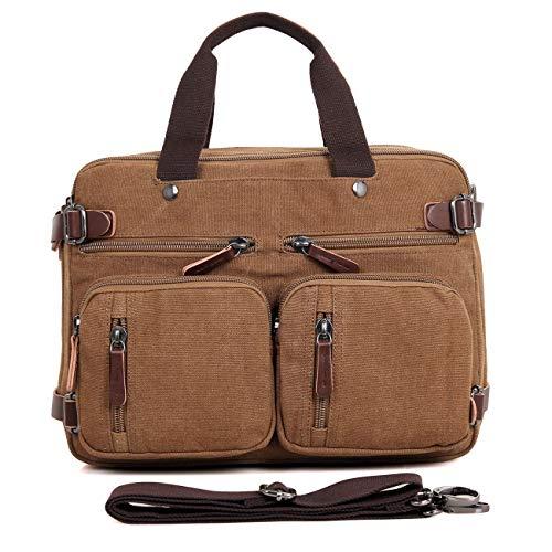 Clean Vintage Laptop Bag Hybrid Backpack Messenger Bag/Convertible Briefcase Backpack Satchel for Men Women- BookBag Rucksack Daypack-Waxed Canvas Leather, Brown by Clean Vintage