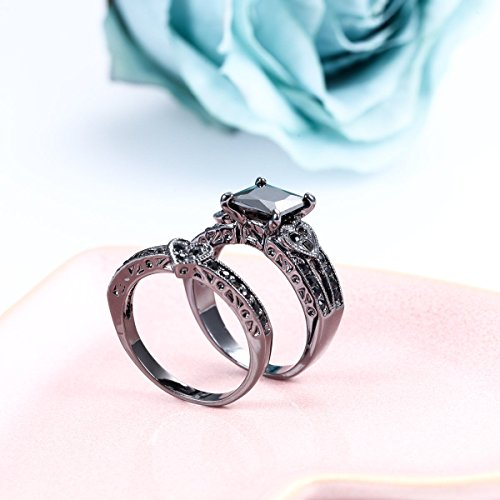 Carbonado ♦♦♦ 14K Black Gold Heart Shaped Black Square Diamond Princess Cut