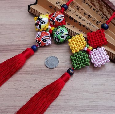 Peking Opera Face Mask Chinese Knot, Good Luck The Four Seasons of Peace Decoration ()