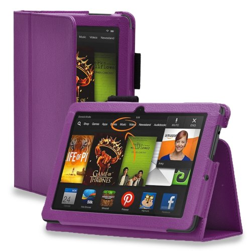 TNP Kindle Fire HDX 8.9 Case (Purple) - Slim Fit Synthetic Leather Folio Cover Stand with Stylus Holder for Amazon Kindle Fire HDX 8.9