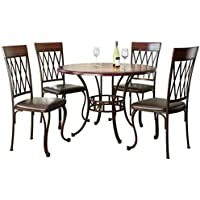 CorLiving DJS-479-Z Jericho 5pc Metal and Warm Stained Wood Dining Set