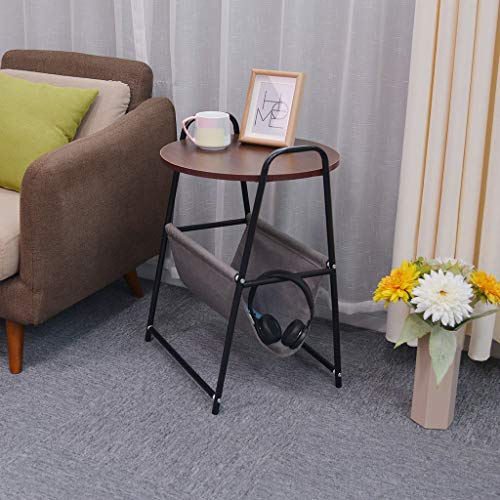 Harmony Round Side Table - Side Table Bedside Table Nightsand Laptop Desk Table with Storage Basket