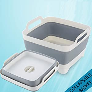 Collapsible Wash Basin Dishpan with Draining Plug - Portable Dish Washing Tub - Space Saving Kitchen Storage Basket