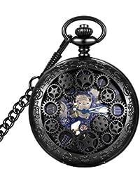 Steampunk Blue Hands Scale Mechanical Skeleton Pocket Watch