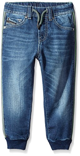 Diesel Little Boys Narrow-Ne Pocket Slim Fit Carrot Leg Knit Sweat Jog Jeans, Denim, 4 by Diesel