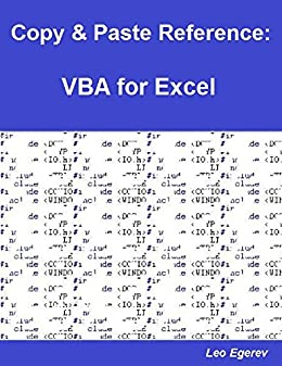 Amazon com: Copy & Paste Reference: VBA for Excel eBook: Leo