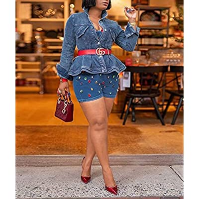 Fastkoala Women Fashion Denim Jackets - Long Sleeve Sunscreen Short Crop Irregular Distressed Hole Washed Jeans Coat Shawl at Women's Coats Shop
