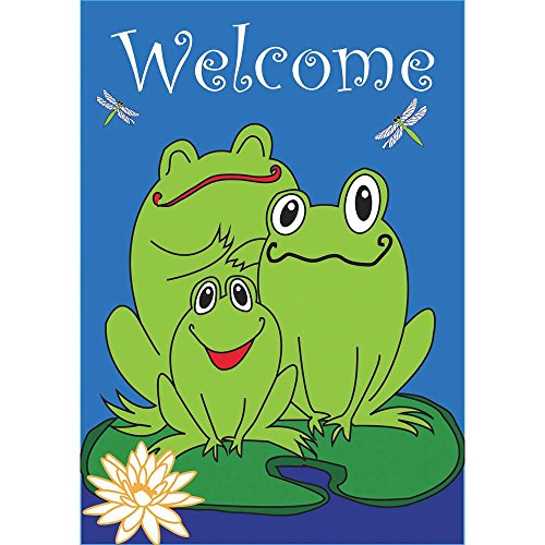 Magnolia 00531 Welcome Frogs Applique House Flag