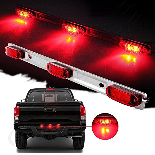 cciyu Red Clear ID Bar Marker Light LED Identification Light Bar 3 Light 9 LED Trailer Sealed Stainless Steel Replacement for 2001-2014 Chevrolet Silverado 1500 2500 3500 GMC Sierra 1500 2500 3500