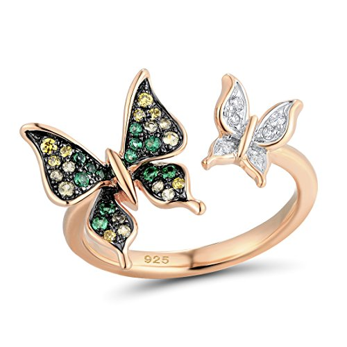 Santuzza 14K Rose Gold Plated Butterfly Ring 925 Silver Green Spinel (Rose-Gold-flashed-Silver, 7)