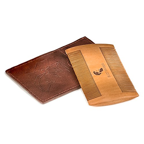 Peach Wood Beard Comb for Grooming with Dual Size Teeth & Leather Pouch