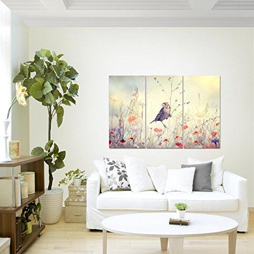 Bilder-Blumen-Vogel-Wandbild-120-x-80-cm-3-Teilig-Vlies-Leinwand-Bild-XXL-Format-Wandbilder-Wohnzimmer-Wohnung-Deko-Kunstdrucke-Wei-100-MADE-IN-GERMANY-Fertig-zum-Aufhngen-010631a