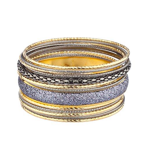Mixed Bangle Set (Lux Accessories Glitzy Mixed Metal Multi Bangle Bracelet Set)
