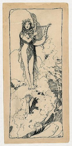 Photo: Nude woman playing lyre,Howard Pyle,Rhine River,Lorelei