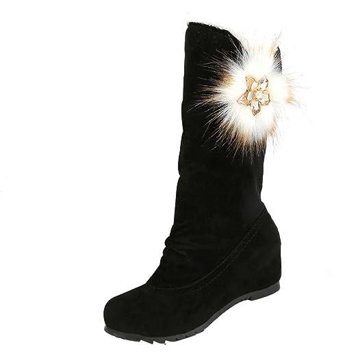 Winter Snow Boots Beautyfine Solid Casual Flat Heel Mid Calf Boots Warm Winter Shoes