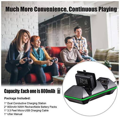Xbox One Controller Charger, CVIDA Dual Xbox One/One S/One Elite Charging  Station with 2 x 800mAh Rechargeable Battery Packs for Two Wireless