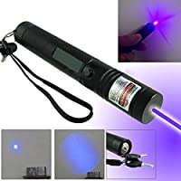 Dequn Wang High Power405nm Blue UV Beam Laser Pointer Lazer Projector Flashlight,UV Flashlight (Contains One 18650 Battery)