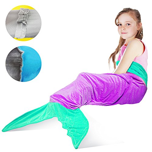 Mermaid Tail Blanket,Tysonir Super Soft and Warm Shark plush blanket Seasons Warm Soft Sleeping Bag Present for Girls kids (Purple) (Top 10 Family Friendly Halloween Movies)