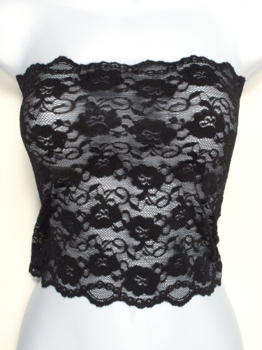Stretch Lace Tube - Ally Rose Topper Stretch Lace Camisole Bandeau Tube Top 12 Inches Long Black M