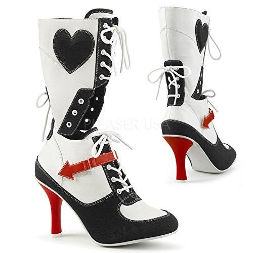 Funtasma Women's Referee-200 Mid Calf Boot, White Polyurethane-Black Canvas, 9 M (Referee Boots)