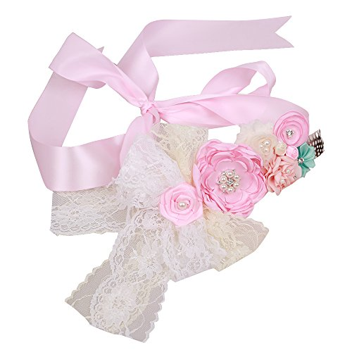 Wedding Bridal Belt Maternity Flower Sash Rhinestone Satin Newborn Photography (Pink)