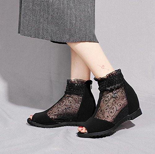 Mi Pointu Xie Black 2018 Chaussures Épais Noir Réseau Pour Talons talon Sandales Mesdames Printemps Dentelle Femme Respirant 37 Bottes Filles U8UCrwZxq