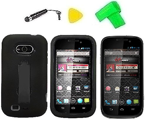 Heavy Duty Hybrid Phone Cover Case Cell Phone Accessory + Extreme Band + Stylus Pen + LCD Screen Protector + Yellow Pry Tool For Virgin Mobile ZTE Awe N800 ZTE Shocker (Black/Black) (Virgin Mobile Awe Case compare prices)