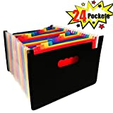 Expanding File Folder - A4 File Organisers Filing Boxes Document File Organiser for Home or Office Documents Paperwork (24 Pockets)