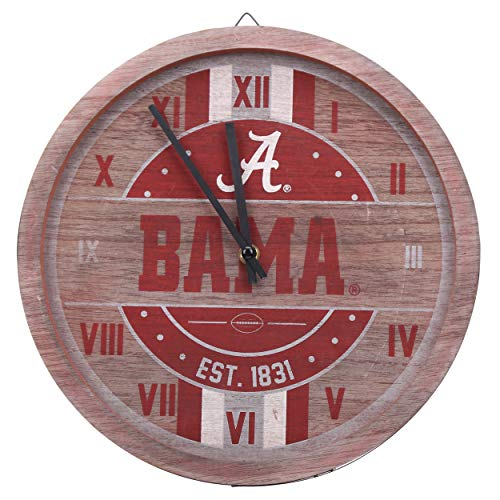 FOCO NCAA Alabama Crimson Tide Team Logo Wood Barrel Wall ClockTeam Logo Wood Barrel Wall Clock, Team Color, One Size Alabama Crimson Tide Clock