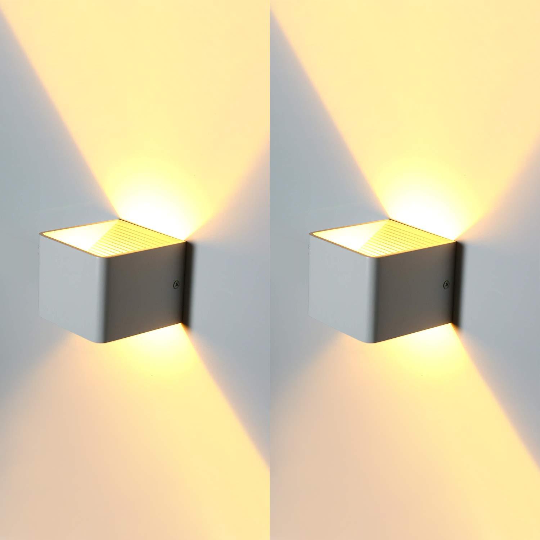 5W LED Apliques de Pared, Lámpara de Pared Interior Con Luz Blanca Cálida, Ideal Para Sala de Estar Escaleras de Escalera del Vestíbulo del Dormitorio (2 piezas) [Clase de eficiencia energética A++] CamGO