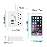 Surge Protector Power Strip, USB Outlet Extender, Flat Plug Power Strips with 4ft Extension Cord, 3 AC Outlet + 3 Smart USB Ports, Mini Socket(125V/10A/1250W), Idle for Home, Office and Travel