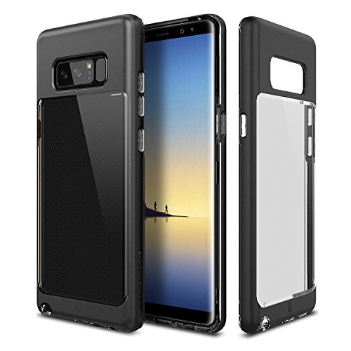 Galaxy Note 8 Case Patchworks Contour Series in Black - Transparent Back and Clear Dual Hybrid Slim Protection Cover Case