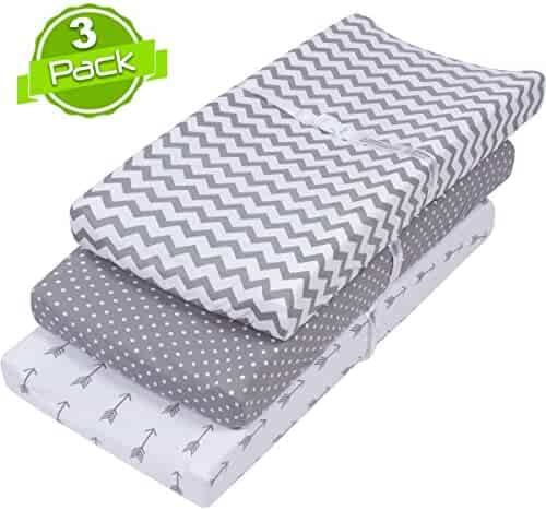 BaeBae Goods 150 GSM Soft Jersey Knit Cotton Changing Pad Cover Set, Grey and White, 3 Pack