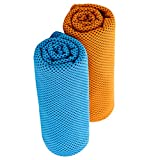 "Fiber Promot 2 pack Microfiber Sports Cooling Towel for travel Camping Hiking Swim Workout Towels Ultra Compact Lightweight Fast Drying Towels (Blue,Orange, 12''×36"")"