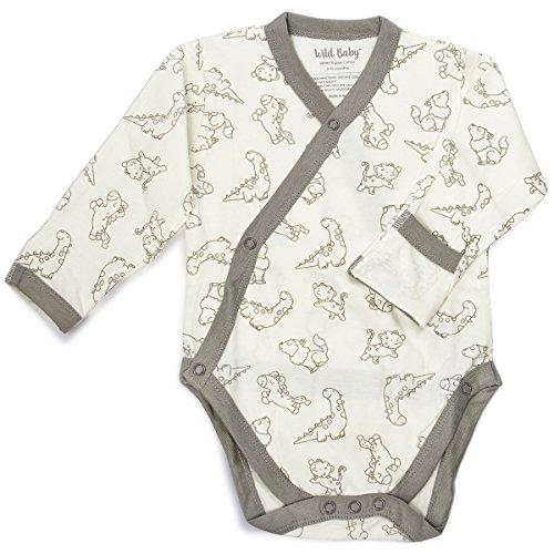 Organic Cotton Kimono Onesie - WILD BABY Organic Cotton Baby Kimono Bodysuit (6-12 Months)