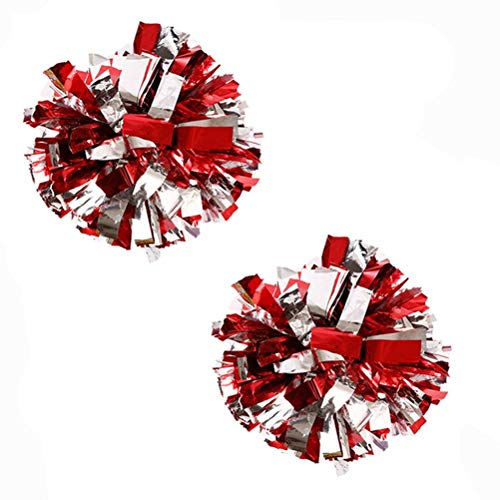 Bstgifts 2 Pack Cheerleading Pompoms, Metallic Foil & Plastic Ring Pom Poms for Cheer, Dance Team (Red+Silver) -