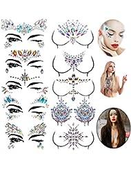 Le Fu Li 10 sets Face Gems Stickers Breast Body Jewelry Stickers Crystal Nipple Tattoo Stickers for Festival Rhinestone Decorations Tattoo Stickers