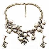 Antiqued Gold Coral Pearl Rhinestone Bib Collar Statement Necklace and Earrings Vintage Jewelry Set