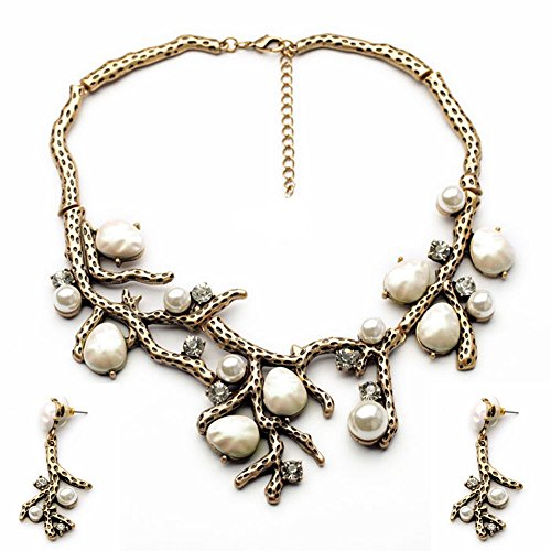 Antiqued Gold Coral Pearl Rhinestone Bib Collar Statement Necklace and Earrings Vintage Jewelry Set ()