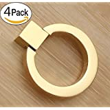 Drawer pull ring handle Cabinet Door Knobs Modern-style Kitchen Cabinet Pulls Set of 4 (gold)