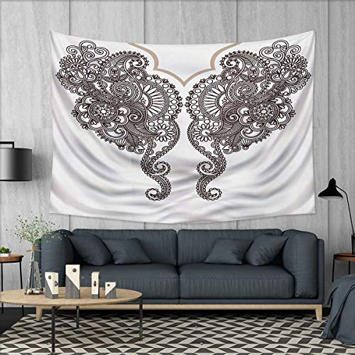 Paisley Brown Needlepoint (Anhuthree Henna Tapestry Wall Tapestry Two Identical Eastern Motif Paisley Henna Art Abstract Swirls Leaves Curlicues Art Wall Decor 60